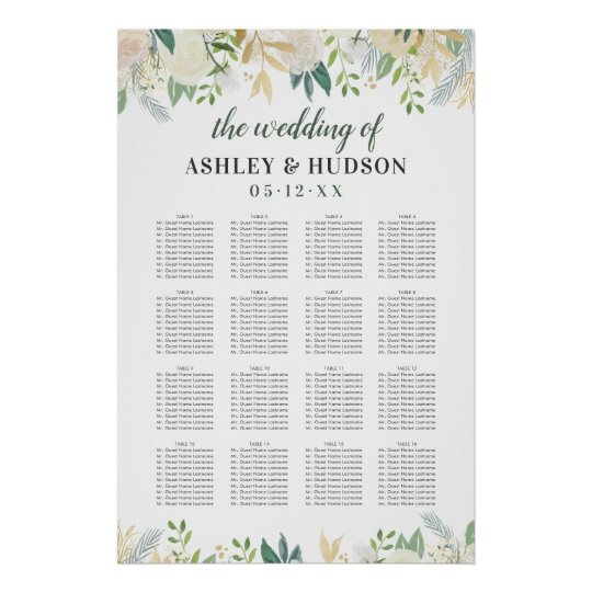 seating chart poster for wedding