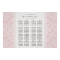 Wedding Seating Chart Poster | Pink Damask
