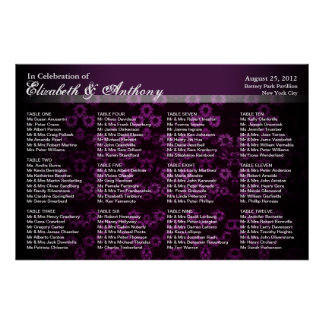 Wedding Seating Chart Poster Purple Vintage
