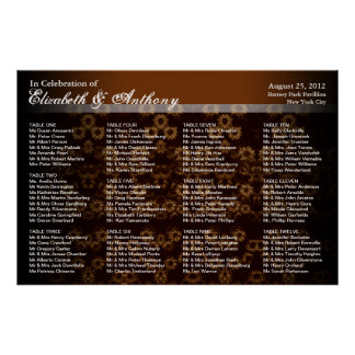 Wedding Seating Chart Poster Sepia