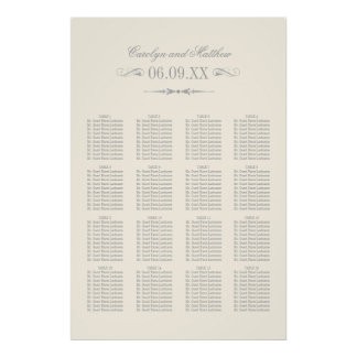 Wedding Seating Chart Poster | Silver Flourish