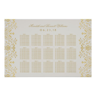 Wedding Seating Chart Poster Vintage Glam Design