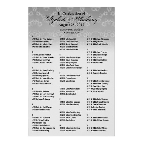 Wedding Seating Chart Poster White Floral