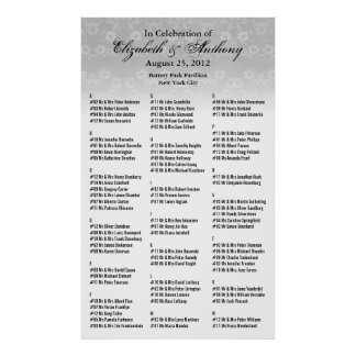 Wedding Seating Chart Poster White Floral 36x60