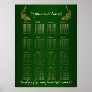 Wedding Seating Chart | Royal Green Gold Peacock