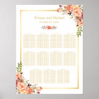 Wedding Seating Chart Rustic Orange Flowers Gold