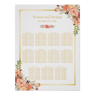 Wedding Seating Chart Rustic Orange Flowers Gold Poster