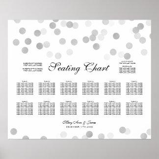 Wedding Seating Chart Silver Foil Glitter Lights Poster