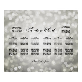 Wedding Seating Chart Silver Glitter Lights
