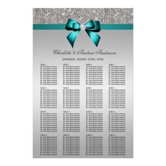 Wedding Seating Chart Silver Sequin Deep Teal Bow