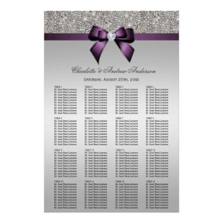 Wedding Seating Chart Silver Sequin Purple Bow
