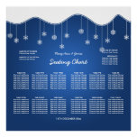 Wedding Seating Chart Snowflake Decoration Blue Poster