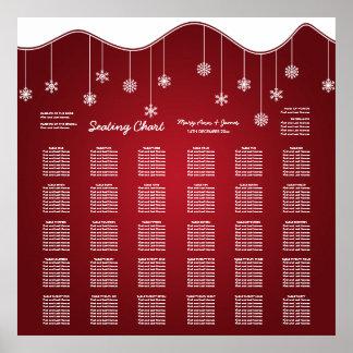 Wedding Seating Chart Snowflake Decoration Red