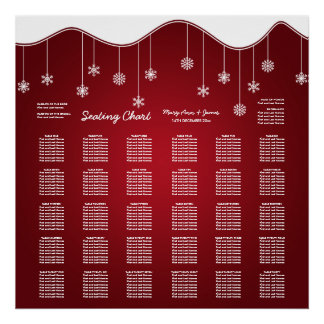 Wedding Seating Chart Snowflake Decoration Red Poster