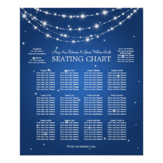Wedding Seating Chart Sparkling Chain Blue