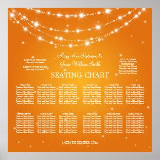 Wedding Seating Chart Sparkling Chain Orange