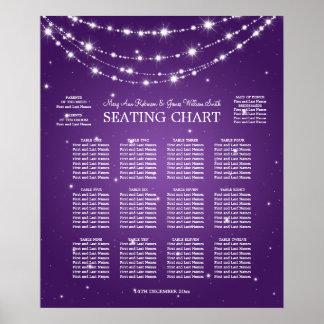 Wedding Seating Chart Sparkling Chain Purple