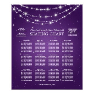 Wedding Seating Chart Sparkling Chain Purple Poster