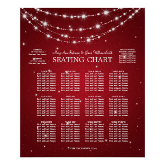 Wedding Seating Chart Sparkling Chain Red