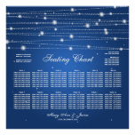 Wedding Seating Chart Sparkling Lines Sapphire Blu Posters