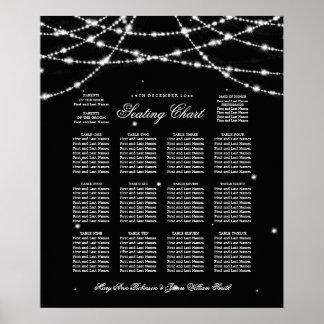 Wedding Seating Chart Sparkling String Black