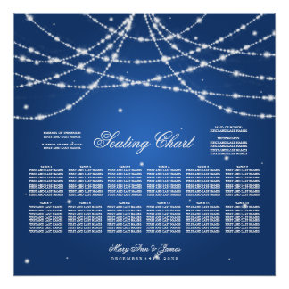 Wedding Seating Chart Sparkling String Blue