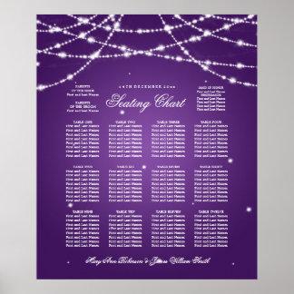Wedding Seating Chart Sparkling String Purple Poster