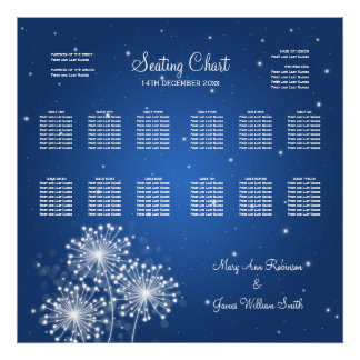 Wedding Seating Chart Summer Sparkle Sapphire Blue Poster