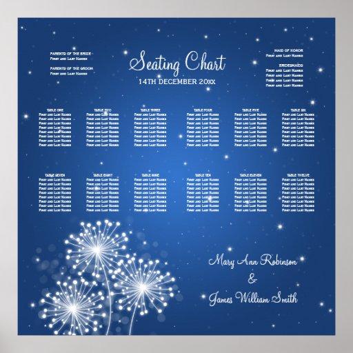 Wedding Seating Chart Summer Sparkle Sapphire Blue Print