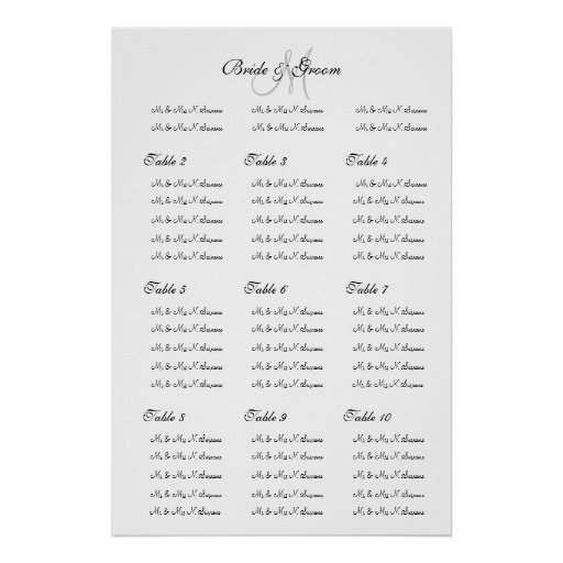 Wedding seating chart template u0026quot;Make your ownu0026quot; Poster : Zazzle