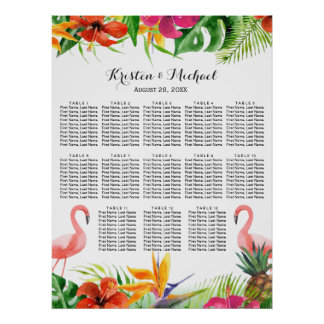 Wedding Seating Chart | Tropical Floral Flamingo Poster