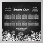 Wedding Seating Chart Victorian Flourish Black Poster