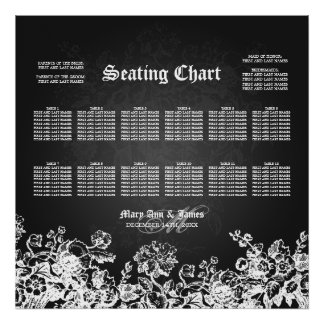 Wedding Seating Chart Victorian Flourish Black Poster