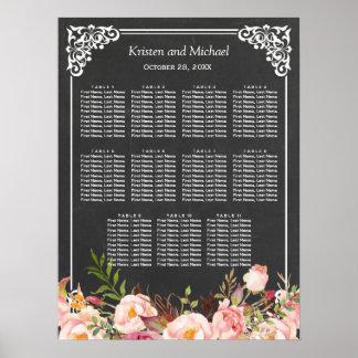 Wedding Seating Chart Vintage Floral Chalkboard Poster