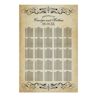 Wedding Seating Chart   Vintage Flourish Poster