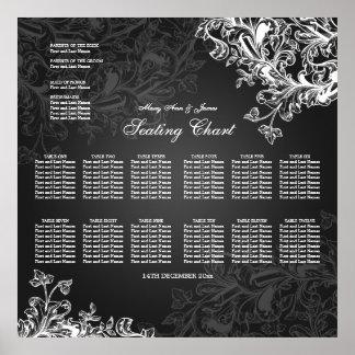 Wedding Seating Chart Vintage Swirls Black