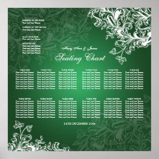 Wedding Seating Chart Vintage Swirls Green