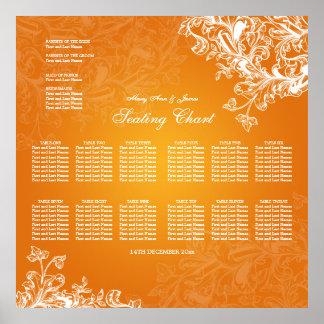 Wedding Seating Chart Vintage Swirls Orange