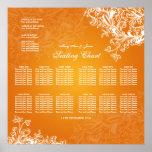Wedding Seating Chart Vintage Swirls Orange Poster