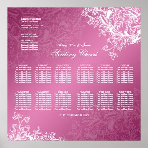 Wedding Seating Chart Vintage Swirls Pink