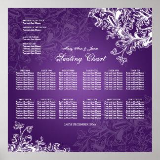 Wedding Seating Chart Vintage Swirls Purple