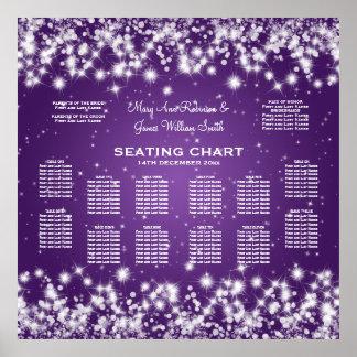 Wedding Seating Chart Winter Sparkle Purple
