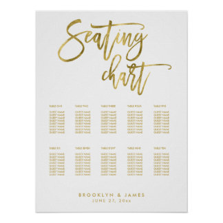 Wedding Seating Chart With Gold Foil Effect 18x24