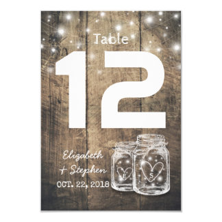 Wedding Seating Place Table Number Mason Jar Light
