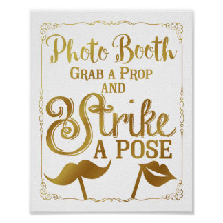 Wedding selfie photo booth sign elegant gold poster