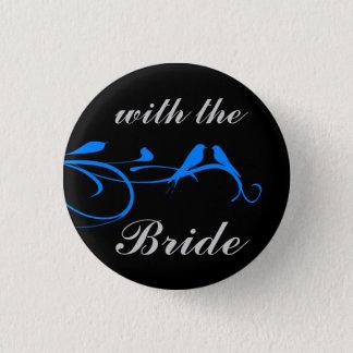 Wedding Set - Flourish - Blue Bird Pinback Button