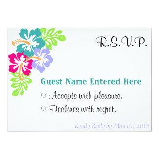 Wedding Set - Hibiscus Blue Flowers Card