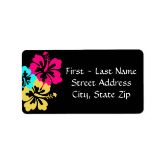 Wedding Set - Hibiscus Colorful Flowers Label