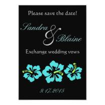 Wedding Set - Tropical - Hibiscus Blue Card