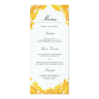 Wedding set with creative yellow brush strokes. card